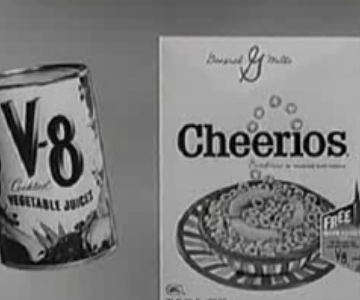 Old 1950s TV Commercial - Cereal - Cheerios and V8 for Healthy Breakfast