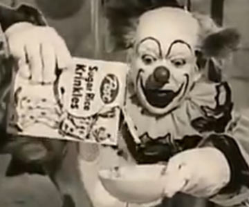 Old 1960s TV Commercial - Sugar Rice Krinkles - This Clown Really Loves Sugar