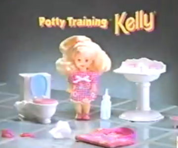 Old 1990s TV Commercial - Barbie with Potty Training Kelly, she tinkles!