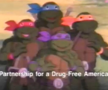 Old 1980s TV Commercial - Don't Smoke Pot - Teenage Mutant Ninja Turtles PSA