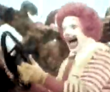 Old 1960s TV Commercial - McDonalds - Ronald Rides to the Store